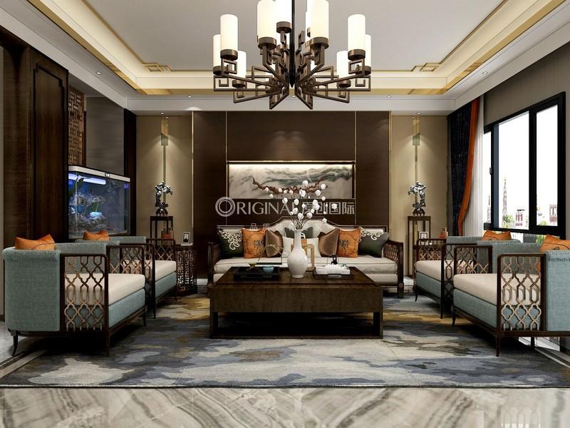 【客廳】選用低調的藍色系作為沙發主色,橙色點綴提亮整個氛圍.jpg