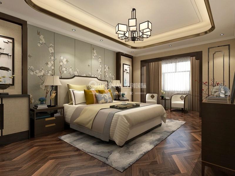 【主臥】中式對稱設計,壁畫突顯氛圍,整個家靜謐舒適.jpg