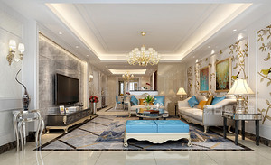 深圳141平三居室装修样板间,清新舒适的简欧风情