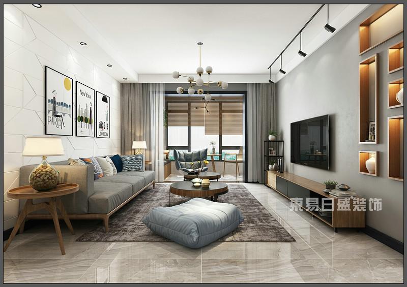 客厅 背景墙_150平米北欧风格装修案例_东易日盛装饰