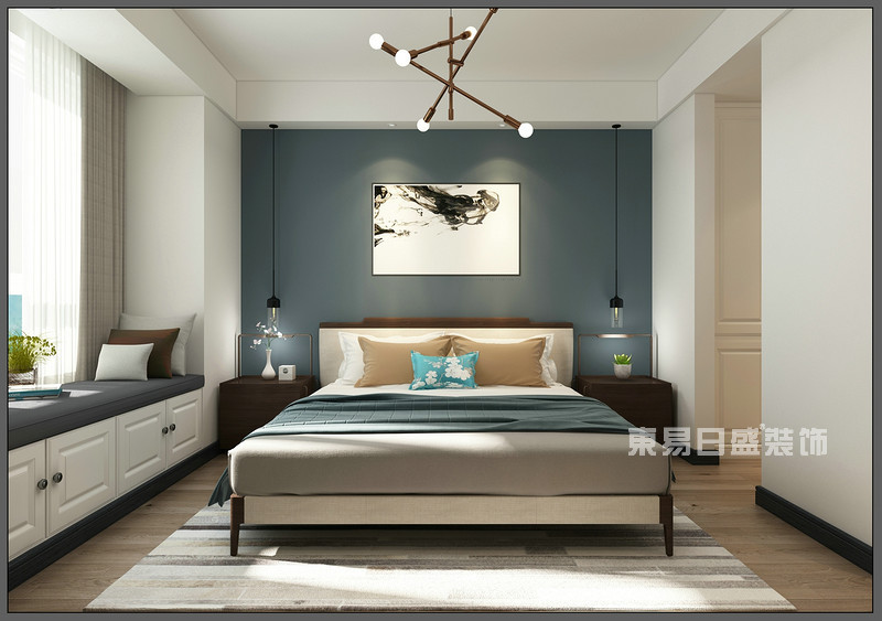 主卧室 榻榻米_150平米北欧风格装修案例_东易日盛装饰