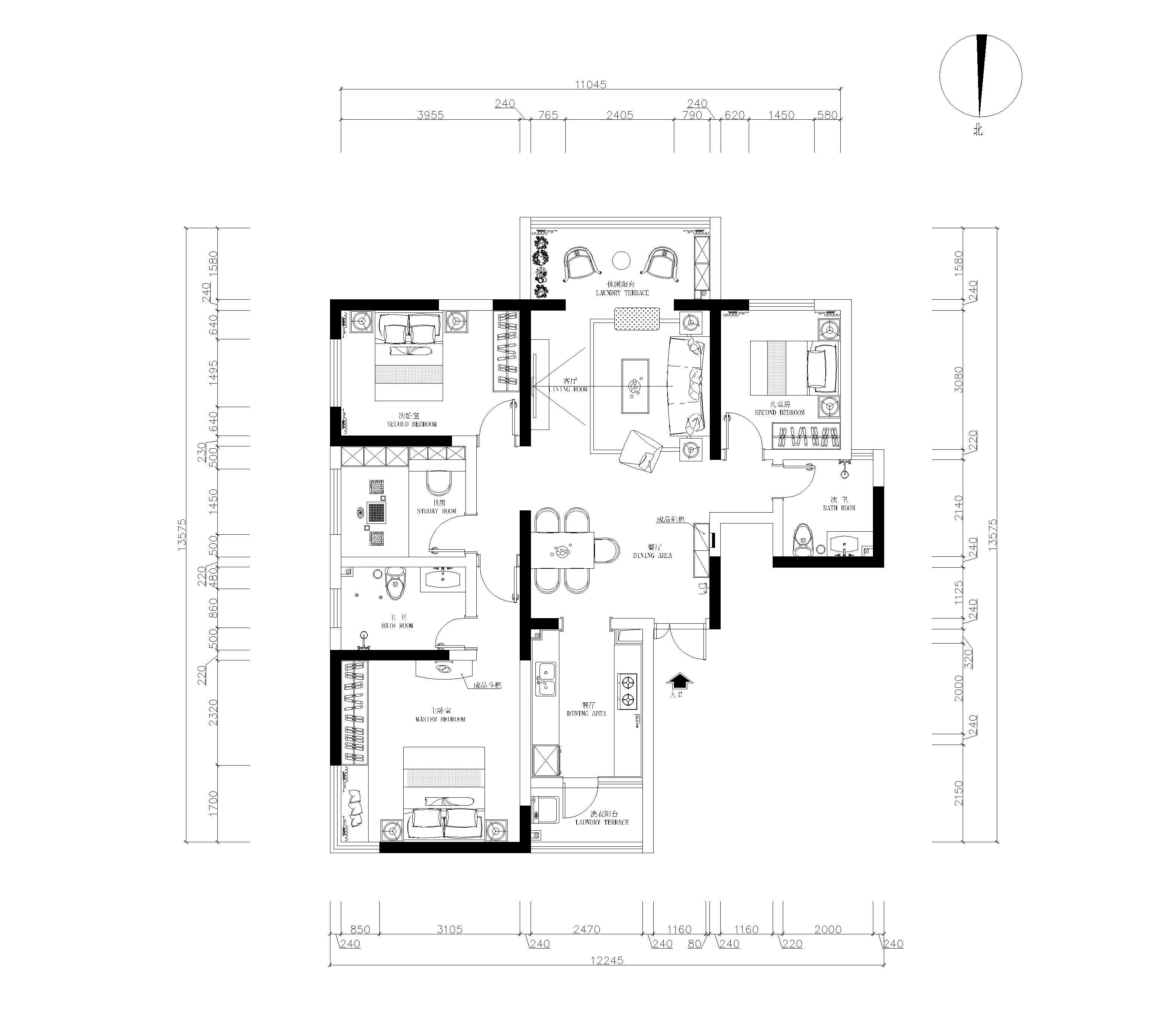 新景逸园115平米四室两厅两卫-北欧风格装修设计理念