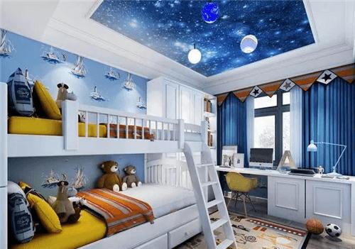 装修效果图   儿童房装修设计的时候可以考虑把天花板设计成星空图案