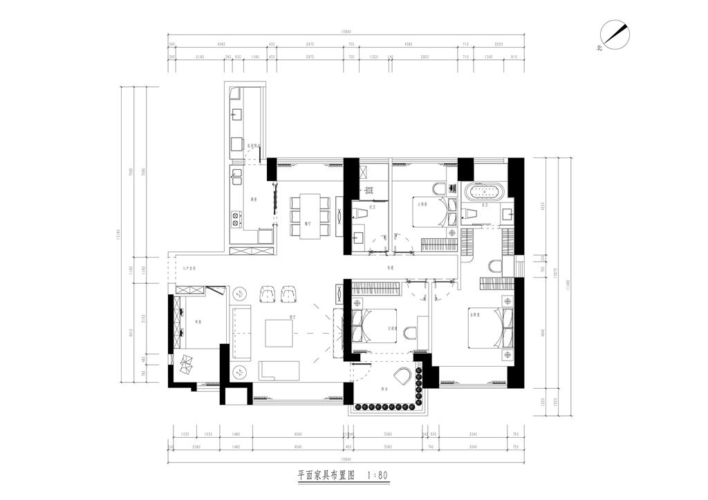 香山美墅果岭 现代简约装修样板间 三室两厅 178平米装修设计理念