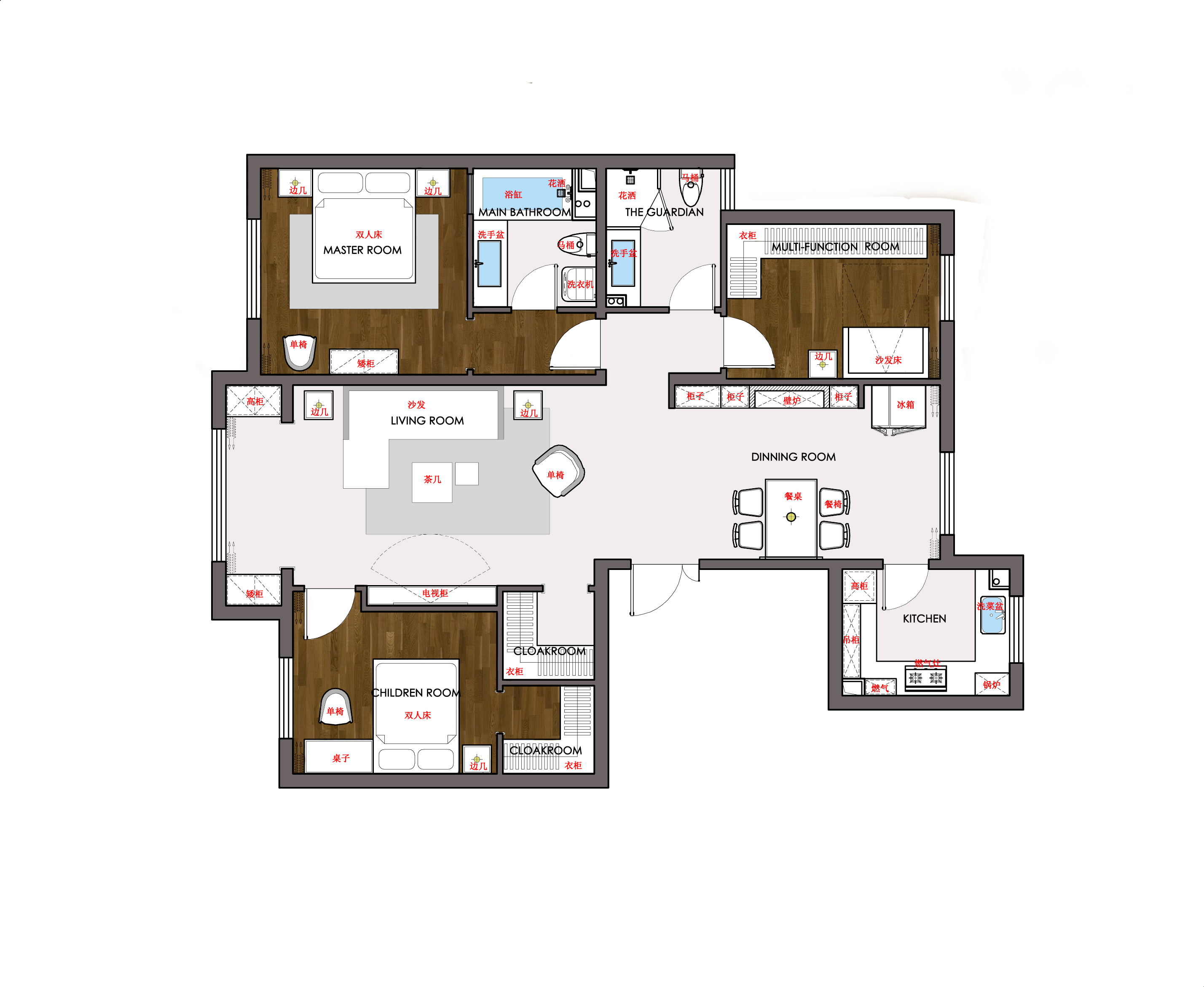 富润家园-美式乡村-124平米装修设计理念