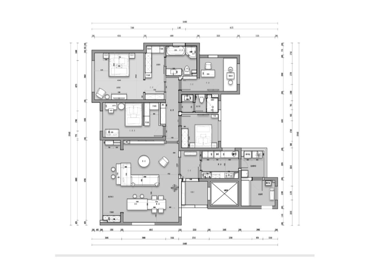 180平四居港式风格丨复地金融岛装修实景图装修设计理念