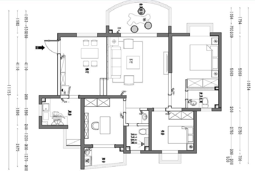 孔家大院 简约装修效果图 平层 115平米装修设计理念