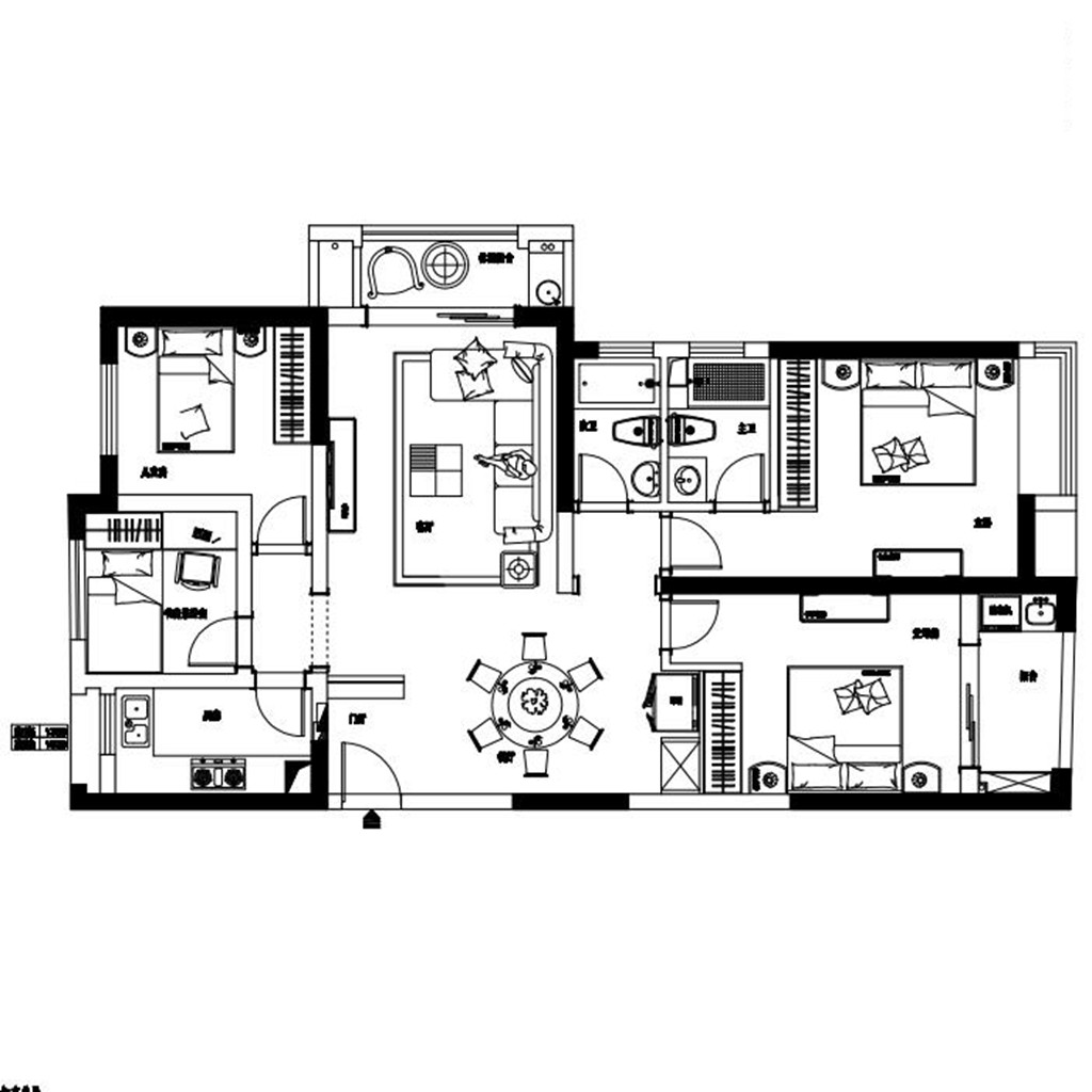 世贸东外滩135平米现代简约风格装修效果图装修设计理念