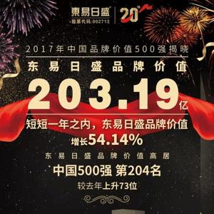 东易日盛蝉联中国品牌价值500强,品牌价值203.19亿