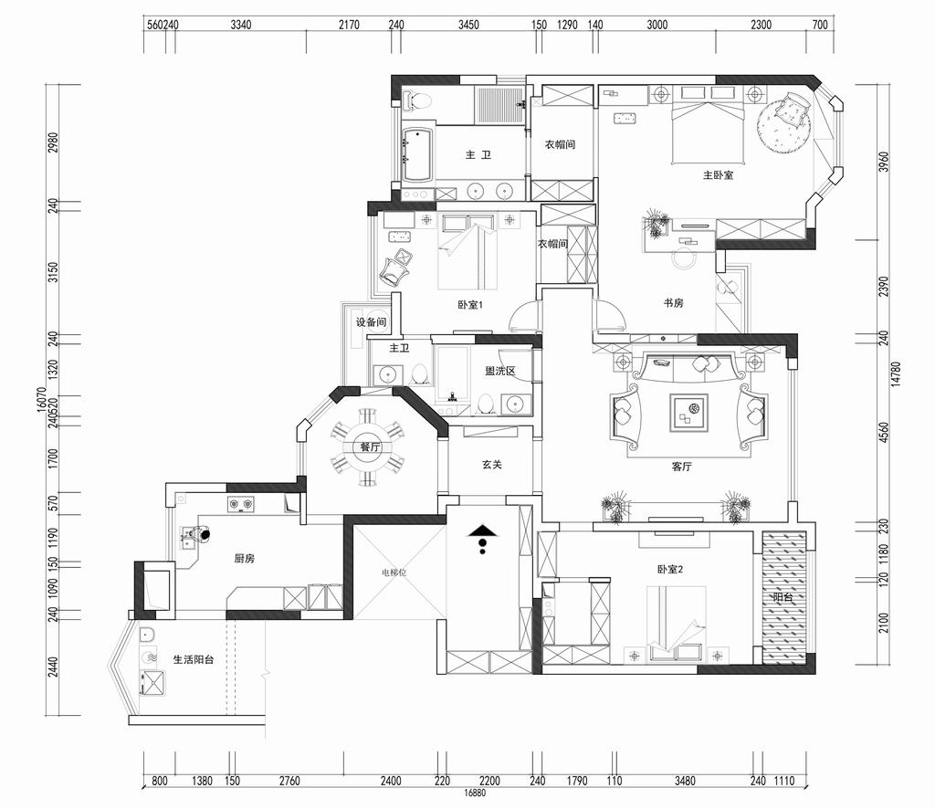 东方海德堡-新中式-160平米装修设计理念