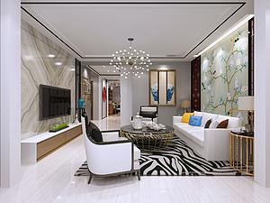 107平新中式二居室装修效果图,庄重与优雅并重!