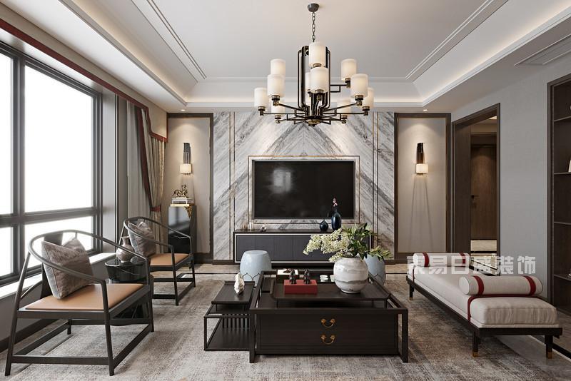 1,2020新款时尚新中式客厅装修效果图
