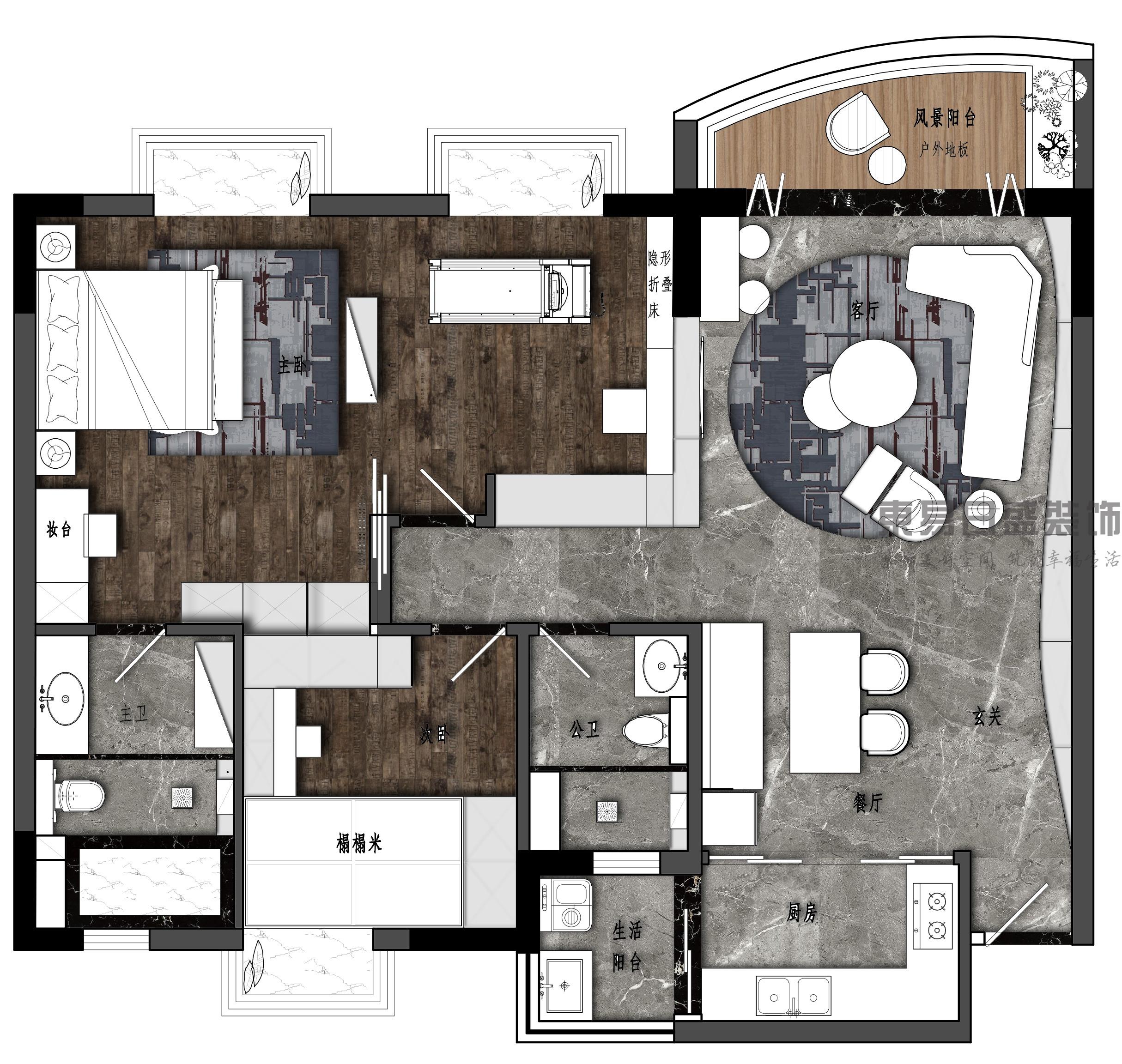横沥东成花园-127㎡Loft风格二居室装修效果图装修设计理念