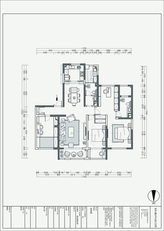 丹轩梓园 雅致主义装修效果图 三室两厅三卫 160平米装修设计理念