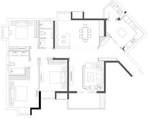 世纪江尚-法式风格-186平米-三居室