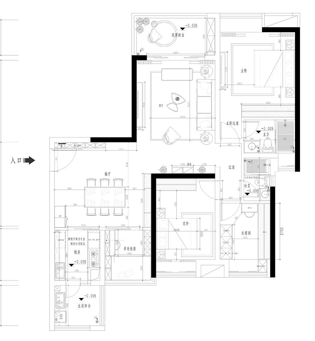 塘厦珠江观澜御景峰装修案例-135㎡现代极简三房二厅装修效果图装修设计理念