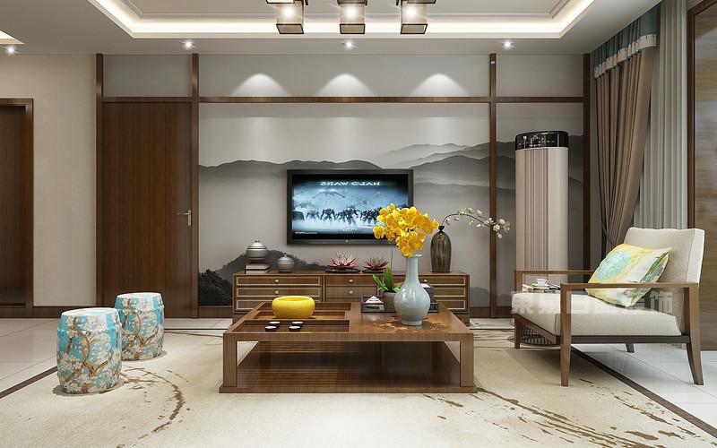 东易日盛装饰_130平米新中式风格装修案例_客厅效果图