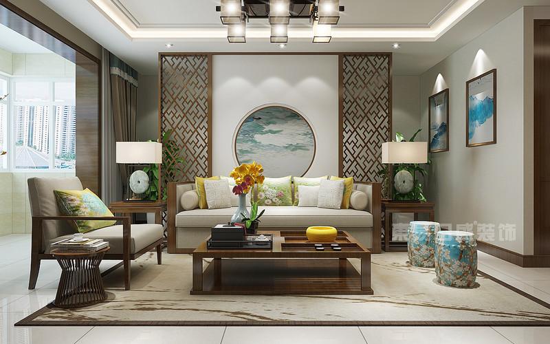 东易日盛装饰_130平米新中式风格装修案例_沙发背景墙