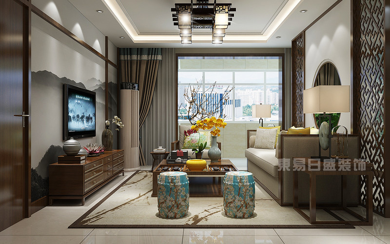 东易日盛装饰_130平米新中式风格装修案例_电视背景墙