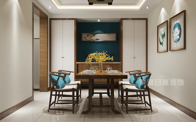 东易日盛装饰_130平米新中式风格装修案例_餐厅装饰设计