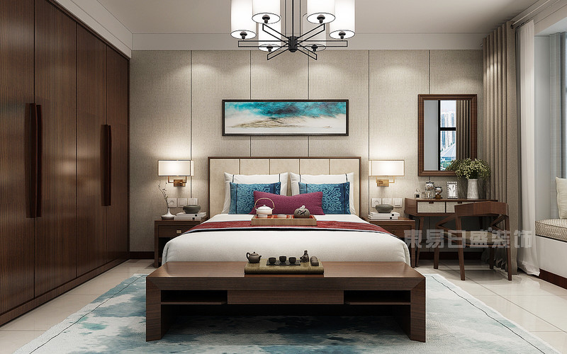 东易日盛装饰_130平米新中式风格装修案例_主卧室