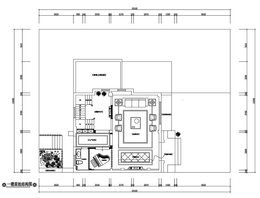 光明澜山320㎡法式混搭风格效果图装修设计理念