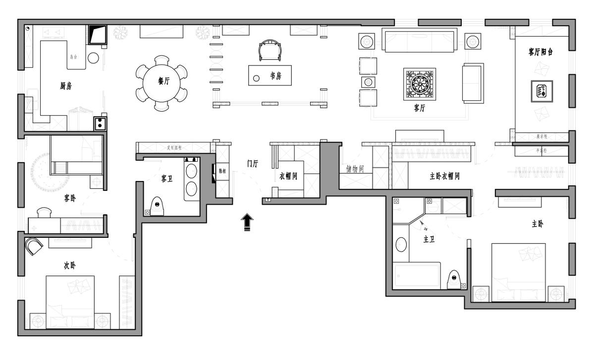 万国城MOMA新中式240平米装修效果图装修设计理念