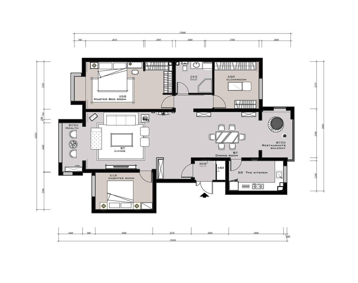 龙熙半岛-欧式风格-160平米装修设计理念