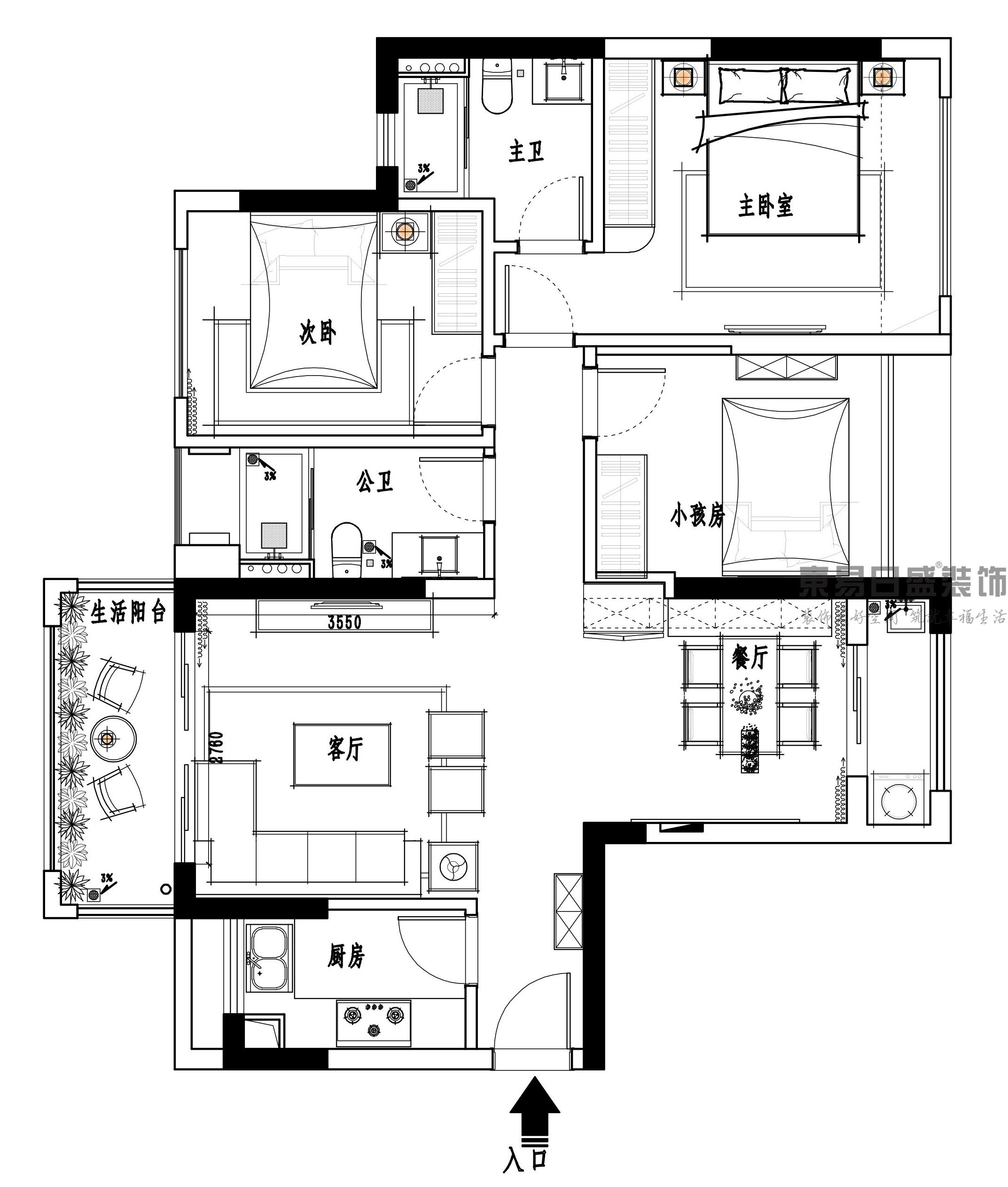 东莞道滘金地城南艺境-100㎡现代简约三居室装修效果图装修设计理念