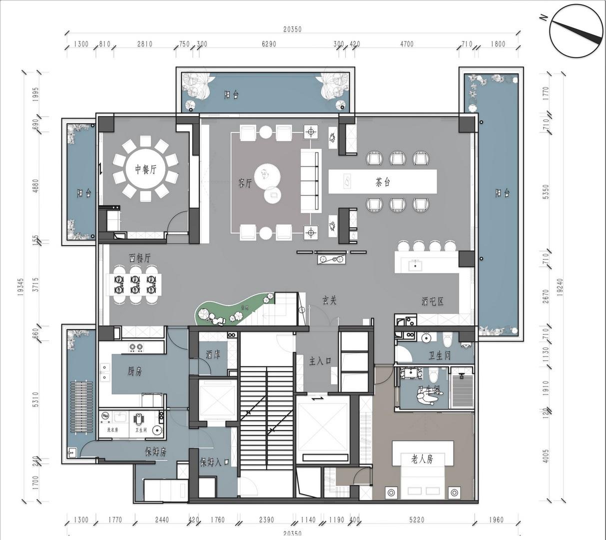 红树西岸-500平米复式装修-新中式风格装修案例装修设计理念