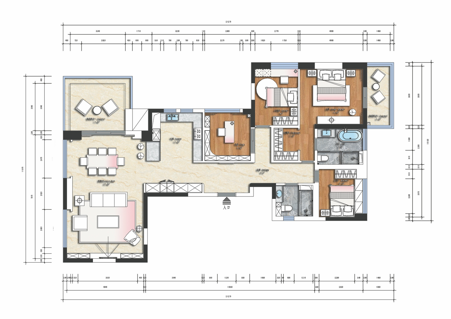 伍兹公寓-220平米装修-现代轻奢风格设计案例装修设计理念
