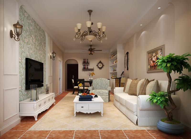 君坮花园-118㎡-美式乡村风格-三居室-客厅(1)