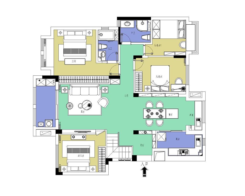 美加橘郡140平米简约风格装修效果图装修设计理念