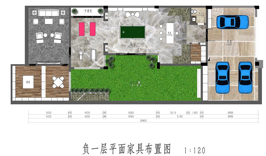 松山湖锦绣山河观园装饰案例-600㎡后现代风格别墅装修效果图装修设计理念