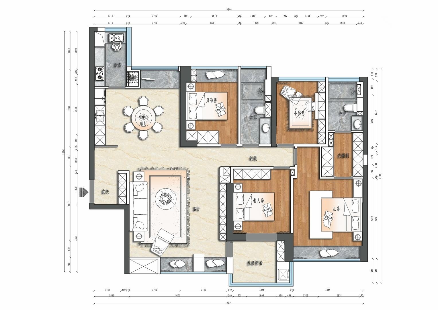 香山美墅云颂-175平米装修-现代风格设计案例装修设计理念