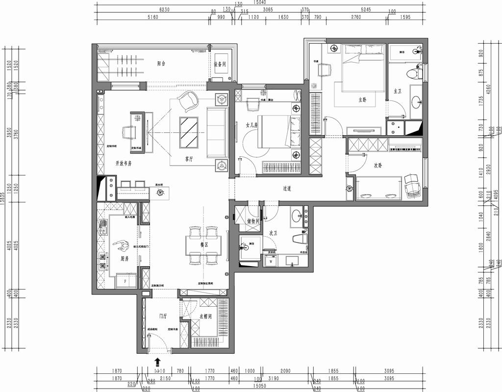 溪语悦庭-古典主义-245平米装修设计理念