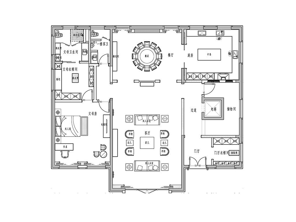 如皋自建房535平新中式装修设计理念