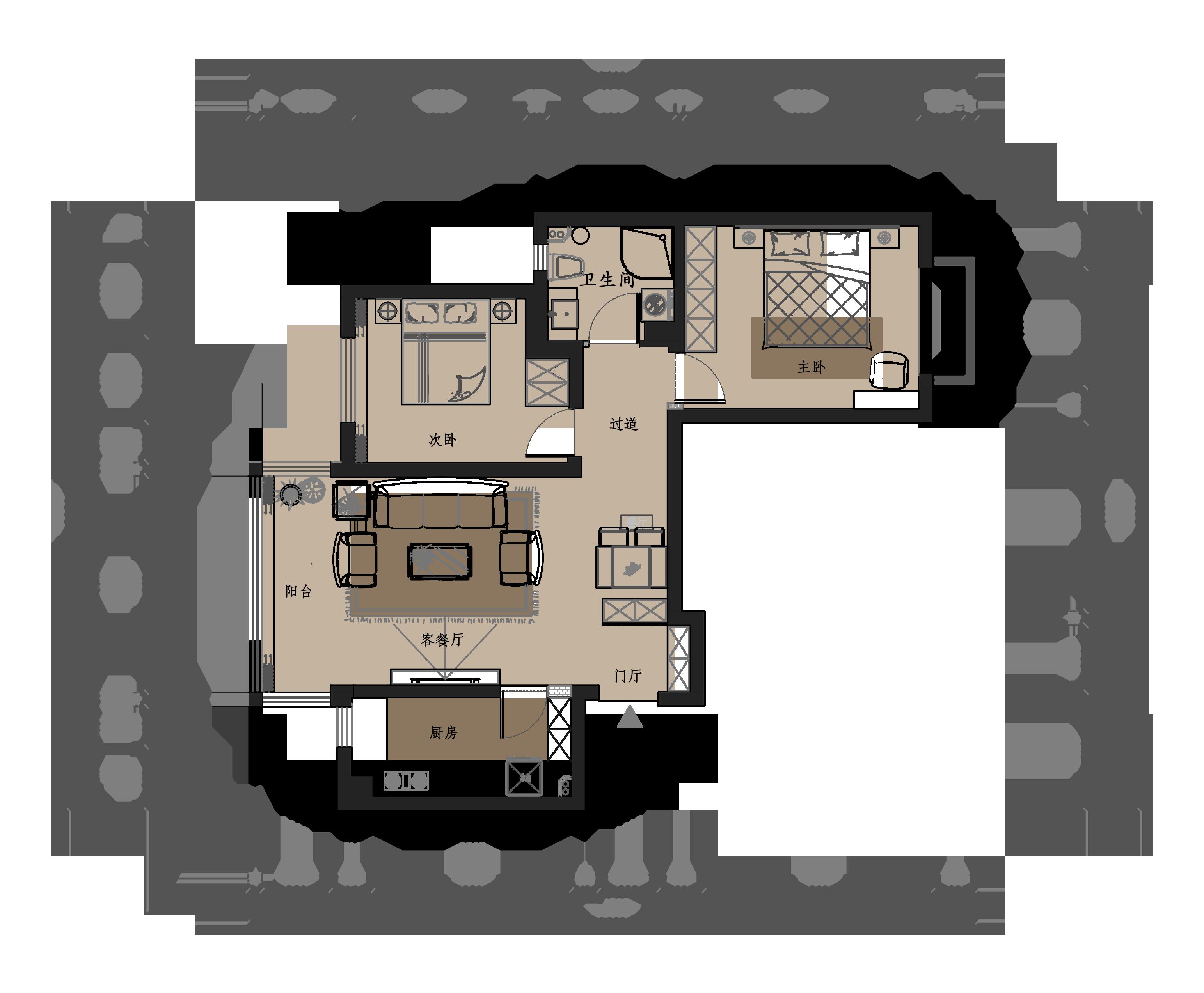 银滩花园94平米新中式风格平层装修效果图装修设计理念
