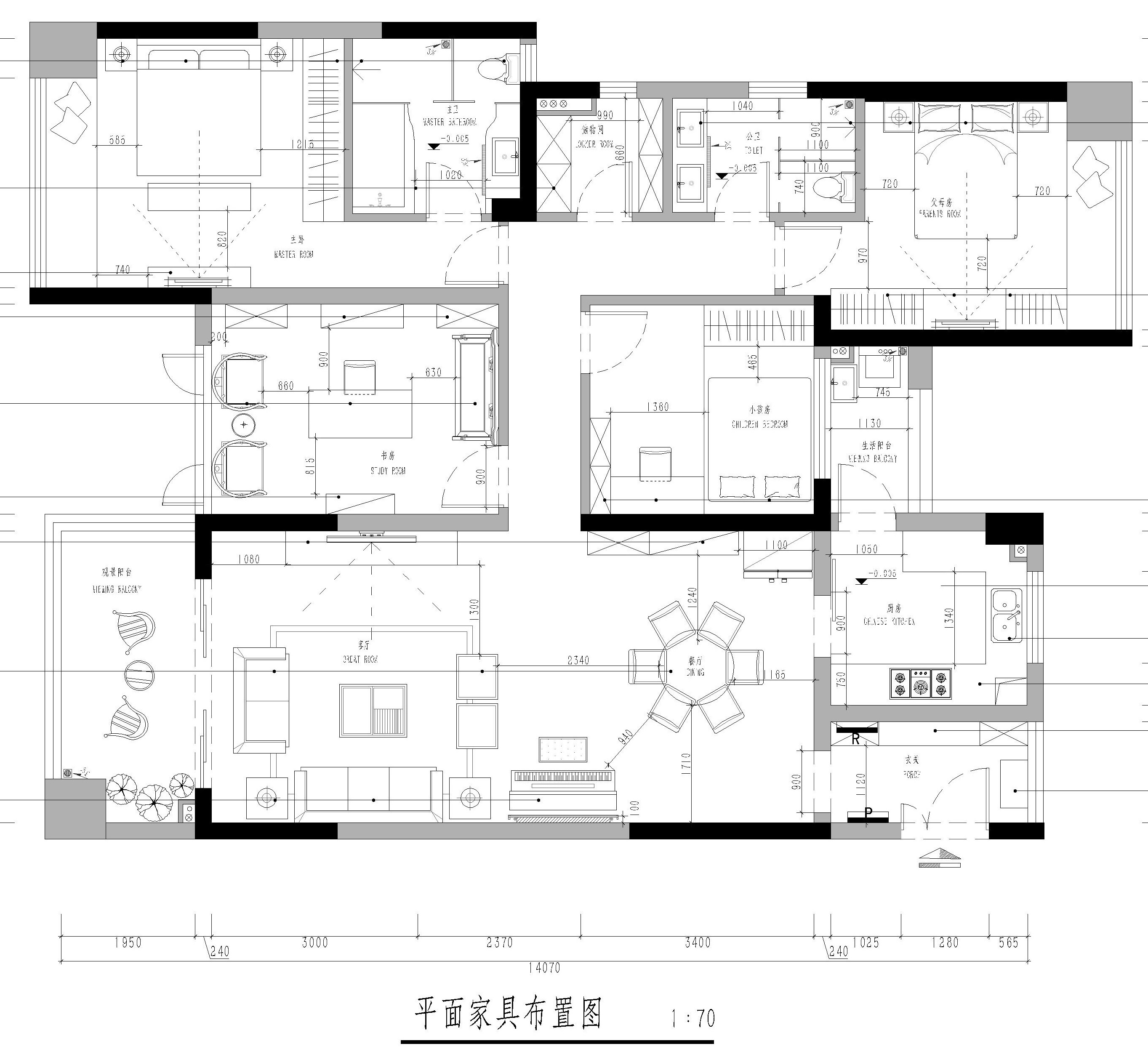东莞南城鼎峰源著-168㎡新中式风格四房二厅 装修效果图装修设计理念