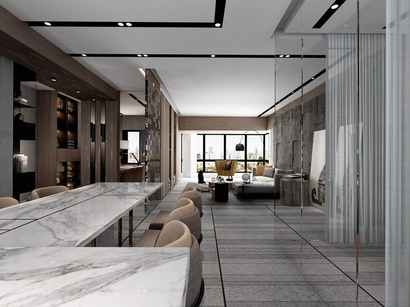香山美墅果岭-餐厅客厅装修效果图-东易日盛