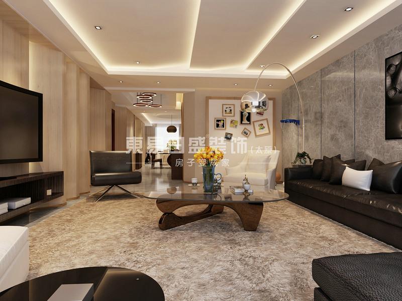 4客厅斜面吊顶的设计简洁有新意的结合电视墙斜面造型书柜,配以柔软的地毯、舒适的皮制沙发,使整个空间现代感十足.jpg
