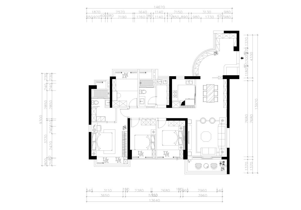 山海韵  现代中式装修效果图 126平米 三房两厅户型设计装修设计理念