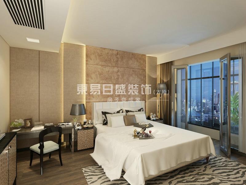 1主卧硬包结合壁纸,利用灯带柔和的灯光和整体简单装饰效果又大方,创造出一个温馨,健康的卧室.jpg