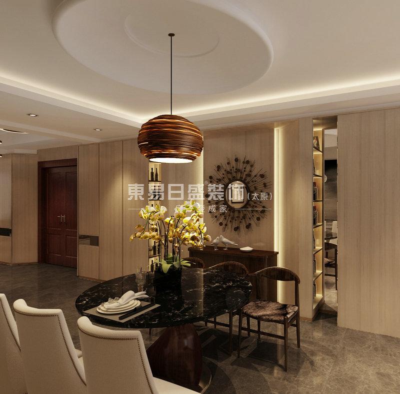 2餐厅吊顶,灯和桌子的圆形设计与空间方形的完美融合,再加上毛皮金属材质的结合,高贵又舒心.jpg