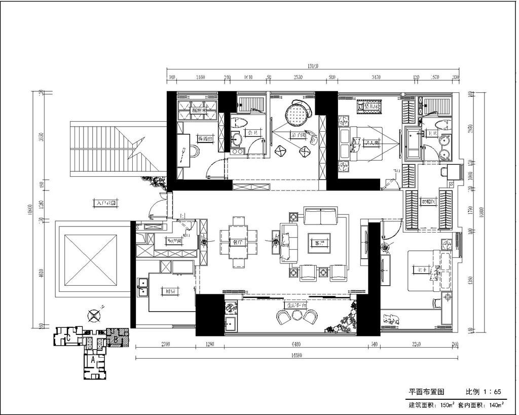 华润城 新中式风格装修效果图片 150平米案例设计装修设计理念
