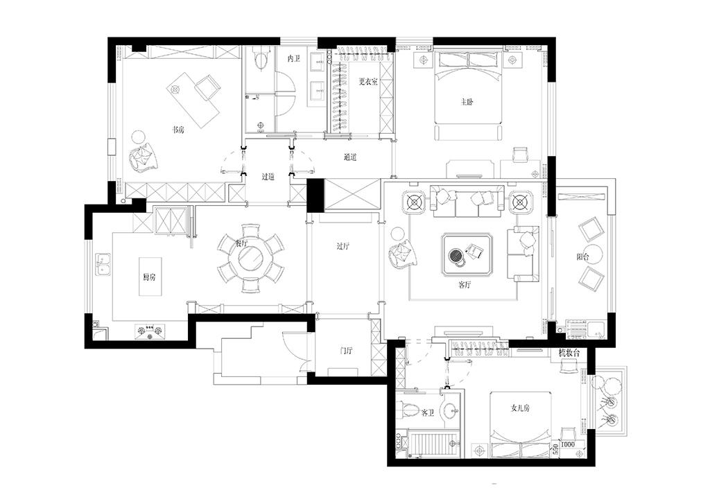 置信原墅170平雅致主义设计装修效果图装修设计理念