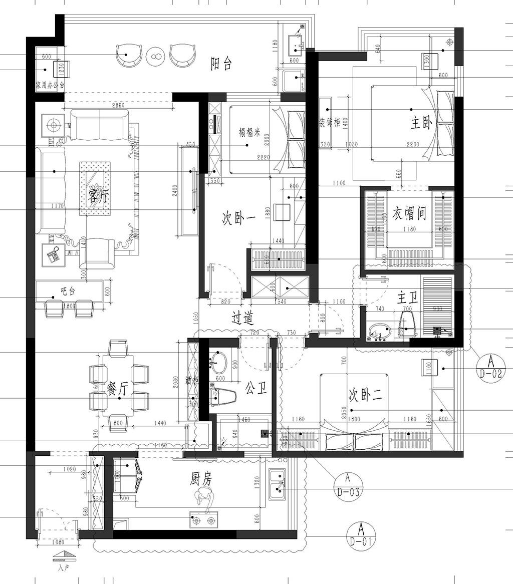 长安中惠新城装修案例-142㎡现代轻奢三房二厅装修效果图装修设计理念