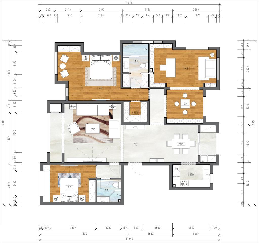 领秀翡翠山 186平 新中式装修设计理念