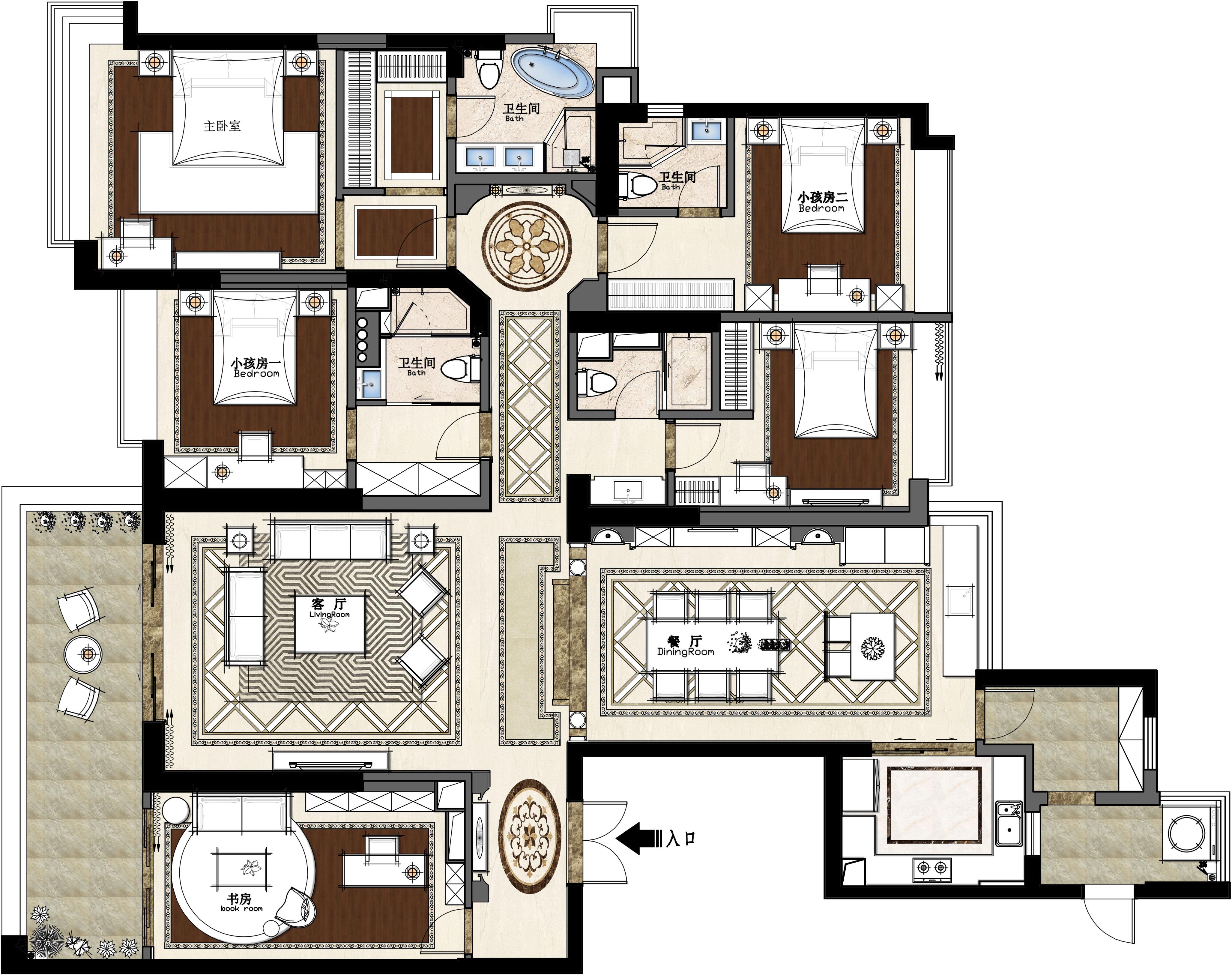 松山湖锦绣山河观园装修效果图-266㎡轻奢欧式五室二厅装修案例装修设计理念