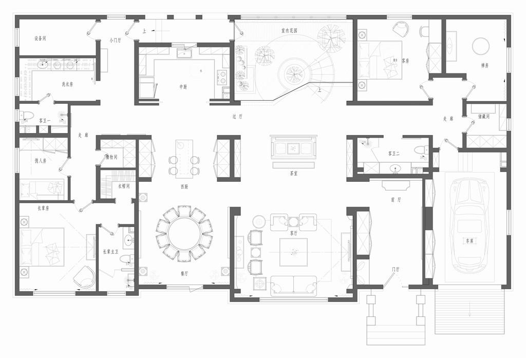 沿海丽水佳园-新中式装修风格-467平米装修设计理念